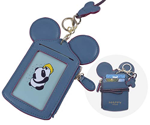 ID Kartenhalter Ausweishülle mit Schlüsselband und Lanyard [LEUYUAN] 2-Seitig PU Leder ID Abzeichen Halter mit 1 Fenster 2 Karten (Dunkelblau)