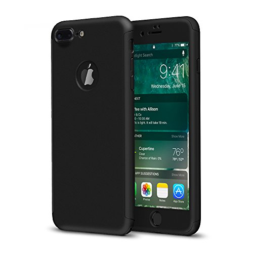 iPhone 7 Plus Case,360 Full Body Protection Hard Slim Case Coated Non Slip Matte Surface with Tempered Glass Screen Protector for Apple iPhone 7 Plus (5.5-inch) - Black Black