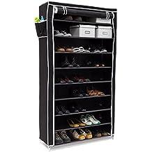 Relaxdays Valentin - Zapatero estructura de acero, cubierta de tela, medidas 161 x 88 x 30 cm, hasta 10 pisos sin la funda, hasta 45 pares de zapatos, libre de polvo, color negro