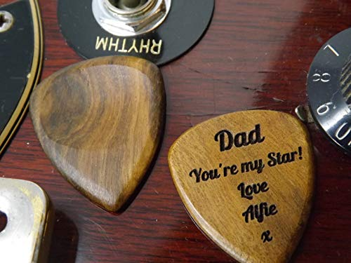 Personalised Wooden Guitar Pick/Plectrum in Chacate Preto Wood perfect for Teachers/Anniversaries/Birthdays