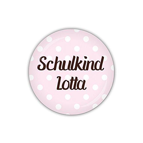 lijelove Button 38mm Ø DOTS rosa, Schulkind mit Wunschname (Art. PBU301)
