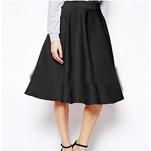 Dress Skirt Longra® Women Elegant Stretch High Waist ! FASHION Pleated Swing Skirt ! 2 Colors to Choose (S, Black)