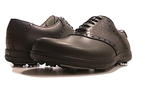 Delux Classic PORTMANN® golf shoes | Durable full grain waterproof leather | TPU&LEATHER Sole (BLACK CAL.\BLACK CROC, UK 10.5\EU 45)