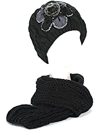 Damen/Frauen Mädchen Gestrickt Bestickt Blume Kunstpelz Strickschals/Schal Kappe/Hüte/Mütze Set mit Strasssteine