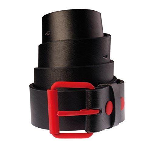 Ceinture en cuir bicolore pour Femme et Homme Masterdis Fasion Prong Belt noir/rouge - Taille:L