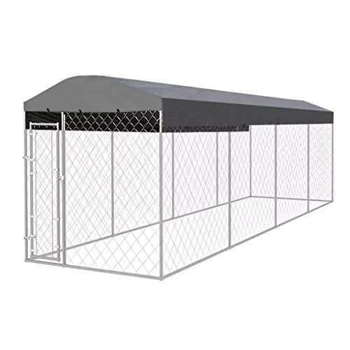 vidaXL Hundezwinger mit Überdachung 8x2x2,4m Hundehütte Hundehaus Hundekäfig