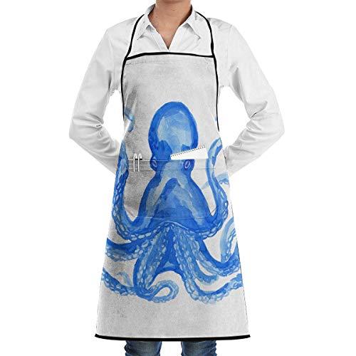 custom aprons Blue Ink Octopus Aprons Bib for Mens Womens Bistro Lace Adjustable Adult Kitchen Waiter Schürzen mit Taschen (Custom Hunde Kostüm)