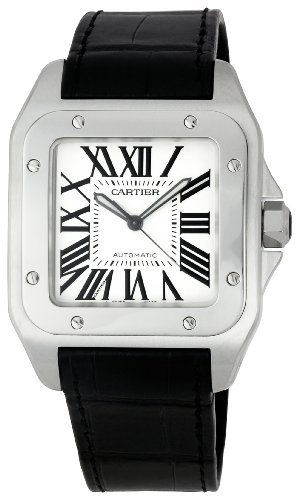 cartier-mens-santos-100-38mm-black-leather-band-steel-case-automatic-silver-tone-dial-watch-w20073x8