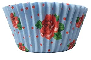 Blue Vintage Roses Cup Cake Cases - Pack of 50 cupcake cases