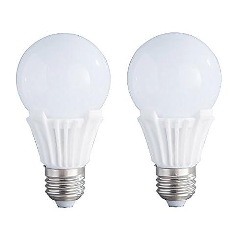 2-Pack Non-dimmable 9w (60w équivalent) Soft White 3000K LED Light B60 Bulbs E27 Base 270 Degree Beam Angle
