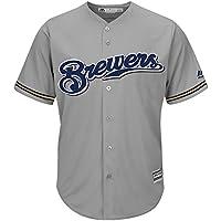 Majestic MLB Baseball Trikot Jersey MILWAUKEE BREWERS Cool Base grau (X-LARGE)