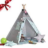 gaeruite Indian Canvas Teepee Tent for Kids Play House with Window