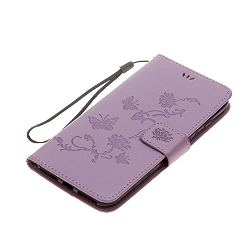 Custodia iPhone 7 Plus, ISAKEN Custodia iPhone 7 Plus, iPhone 7 Plus Flip Cover con Strap, Elegante borsa Albero Design in Sintetica Ecopelle Sbalzato PU Pelle Protettiva Portafoglio Case Cover per Ap Lotu: viola