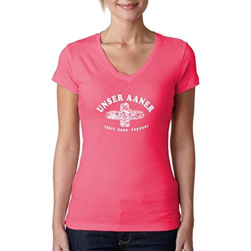 Fun Sprüche Girlie V-Neck Shirt - Unser Aaner fährt... by Im-Shirt Light-Pink