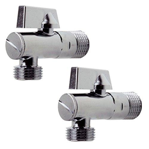 Design Eckventil 2 Stück für Küche und Bad 1/2 Zoll / Eckregulierventil / Wasseranschluss / Verteiler / Absperrventil für Warmwasser und Kaltwasser von SANIXA® mit Filter JL19SETE38