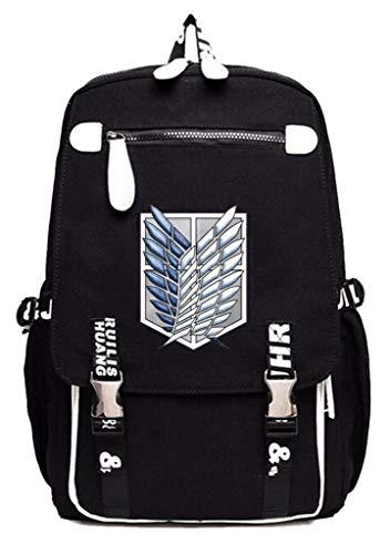 Cosstars Attack on Titan Anime Cosplay Studenten Rucksack Canvas Backpack Schultaschen Daypack -17 (Mikasa Figur)