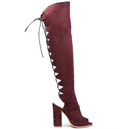 Ideal Shoes, Damen Stiefel & Stiefeletten Bordeaux