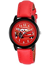 Golden Bell Crazy Taxi Multicolor Dial Red Strap Analogue Wrist Watch For Kids And Boys - Gbk-0049