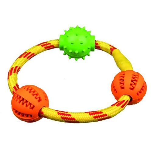 Trixie Denta Fun Corda Anello con Palline per Cane, 20 cm, One Piece