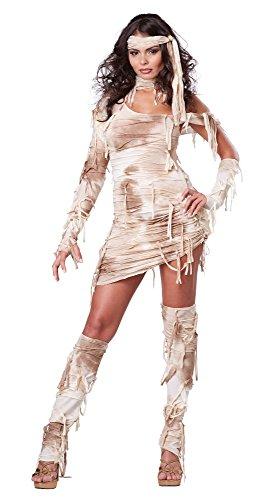 Generique - Sexy Mumie Damen-Kostüm beige-weiß XS (Sexy Kostüm Ägypten)