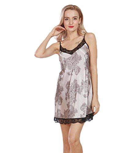 WanYang Femme Peignoir Satin Robe Vêtement De Nuit Chemise De Nuit Imitant Pyjama Dentelle Col V Gris