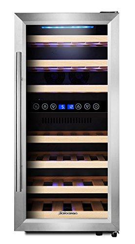 KRC-33BSS Kompressor Weinkühlschrank, 100 Liter, 33 Flaschen (bis zu 310 mm Höhe), 2 Zonen 5-10°C/10-18°C, 7 Holz-Einschübe, LED-Display, Edelstahl Glastür