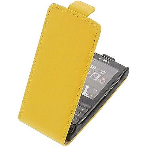 Funda para Nokia X3-02 protectora tipo flip para móvil amarilla