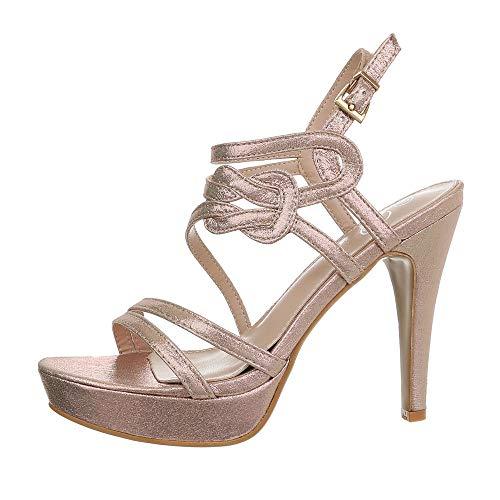 Ital-Design Damenschuhe Sandalen & Sandaletten High Heel Sandaletten Synthetik Gold Rosa Gr. 37 -