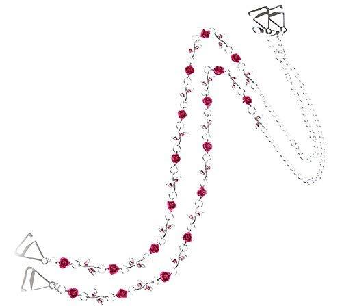 TreasureBay Diamante BH-Träger Wild Pink Roses Design Verstellbare Größe-EIN Paar