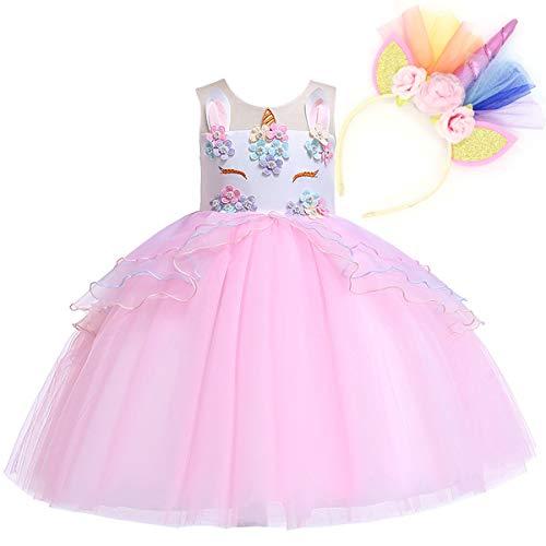 Cosplay Tutu Princess Kostüm - NNDOLL Mädchen Einhorn Rüschen Blumen Party Cosplay Kleid Brautkleid Princess Pink 110 3 4 Jahre