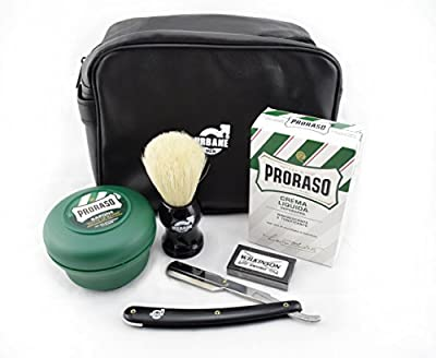 Proraso Shaving Kit Gift Set with Shaving Soap in Bowl, Aftershave Balm, Urbane Men Shavette, Brush and Wash Bag from Proraso