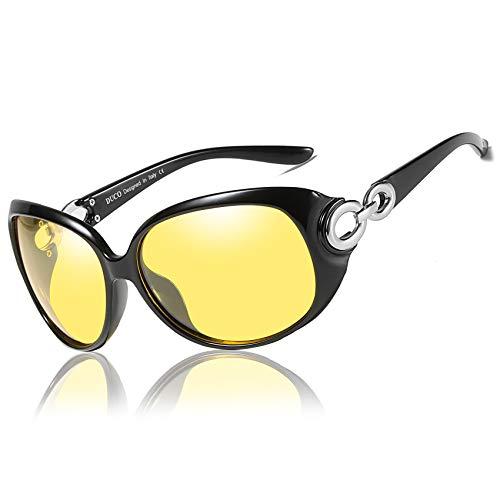 DUCO Damen HD nacht brille für autofahrer frauen Elegante Ovale Nachtfahrbrille 1220 (Schwarz)