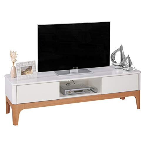 KS-Furniture Meuble TV Bas Nora MDF Blanc TV HiFi 150 cm avec 2 tiroirs Commode Design scandinave
