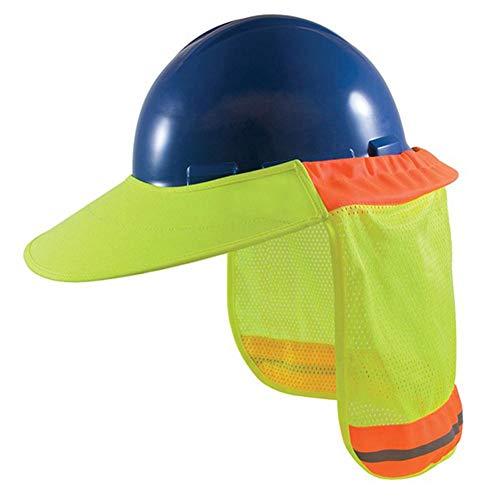 luckything BAU-Schutzhelm Hals Schild Helm Sonnenschutz Reflexstreifen Kit,Schutzhelm-Sonnenschutz, Vollrand-Mesh, Reflektierender Nackenschutz Mit Hoher Sichtbarkeit (Schutzhelm Nicht Enthalten)
