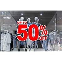 1 x wall window display sale sticker - up to 50 percent off - red print on white cut out - self adhesive weather proof vinyl sticker label - size - 450mm x 280mm