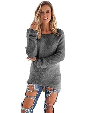 Rcool Mujer Otoño Primavera Suéter Loose Pullover Suéteres Jerseys Manga Larga Camiseta Tapas Blusa