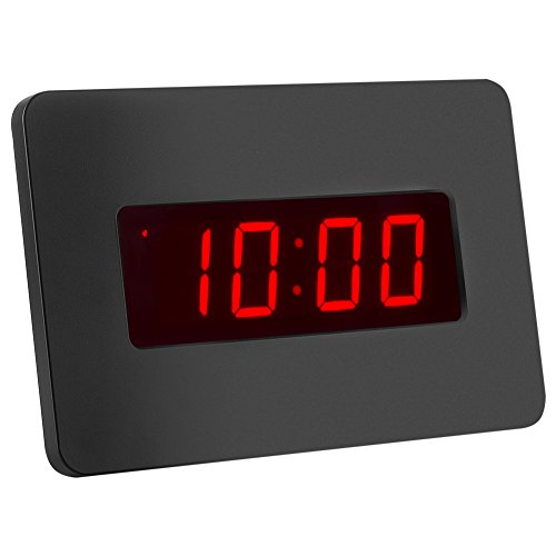 Kwanwa Digital LED Wecker Wanduhr für Schlafzimmer nur mit Batterie betrieben (Schwarze)