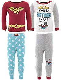 1c9e551fd Komar Kids Girls' Wonder Woman Cotton 4 Piece Toddler Pajama 2T