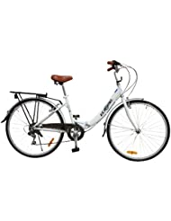 "ECOSMO 26"" New Folding Ladies Shopper City Bicycle Bike 7 SP SHIMANO -26ALF08W"