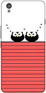 Snoogg Love Owl Birds Hard Back Case Cover Shield For One Plus X / Oneplus X