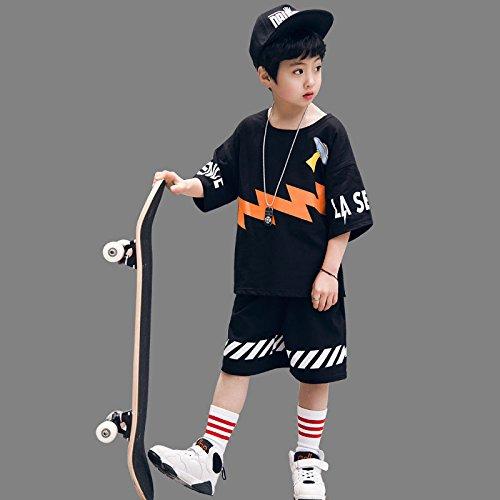 XING GUANG Kinderkleidung Jungen Street Dance Sets Neue Sommerkleidung Kinder Sport Kinder Jazz Dance Kostüme,Black(120)