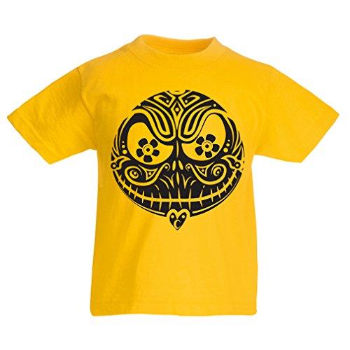 Kinder T-Shirt Das Schädel-Gesicht - Der Alptraum - gruselige Halloween-Nacht (14-15 years Gelb (Kreative 15 Halloween Kostüme)