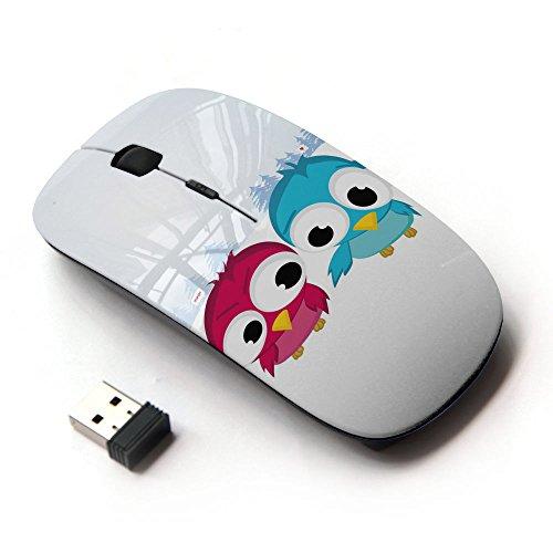 [Peculiar-Star] Colorato stampato ultrasottile ottico senza fili 2.4Ghz mouse-Black [Divertente Uccello sveglio Amici]