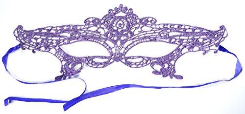 PRESKIN - Spitzenmaske für Karneval, venizianische Verführung aus Spitze für Fasching, lila Maske für Verkleidung und ()