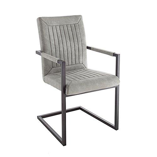 Riess Ambiente Design Freischwinger Stuhl Bristol Stone grau mit Armlehne Esszimmerstuhl Esszimmer Stuhl