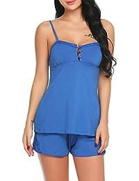 Scallop Mujer Conjunto de Pijama Ropa de Dormir Lencería Algodón Suave Camisa ...