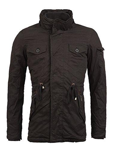 Young rich & manteau parka veste pour homme à col montant avec capuche slim jK - 413 Noir - Noir