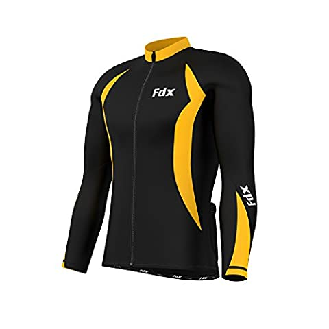 FDX Mens Cycling Jersey Full sleeve Winter Thermal Cold Wear Fleece Top Bike racing team (Black/Yellow,