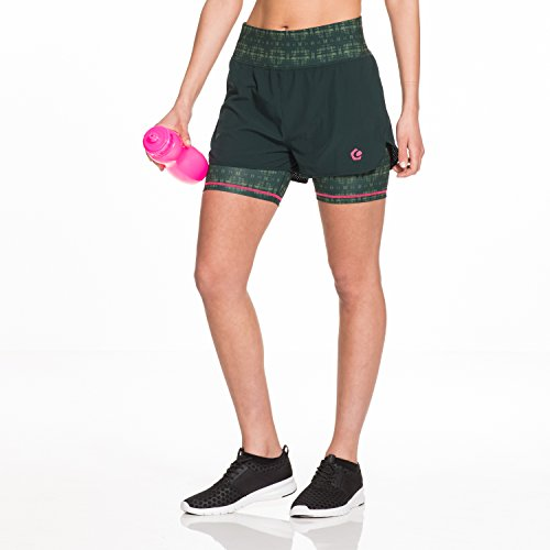 GregsterPro Damen Fitness Shorts Rue, Dunkelgrün Bedruckt, M, 12905