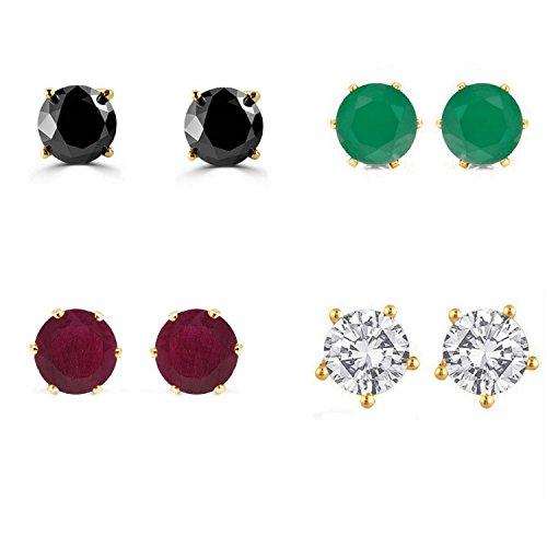 efulgenz Jewelry 14K vergoldet Zirkonia hypoallergen Ohrstecker Set für gepiercte Ohren (4Paar)